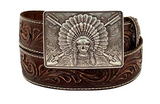 Ariat Men's Chief Skull Buckle Arrows Western Belt