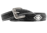 Ariat Mens Sands Black Black Tooled Belt