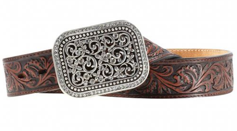 Ariat Women's Rhinestone Filigree Brown Western Belt