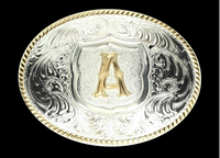 Crumrine Oval Silver Initial Belt Buckle