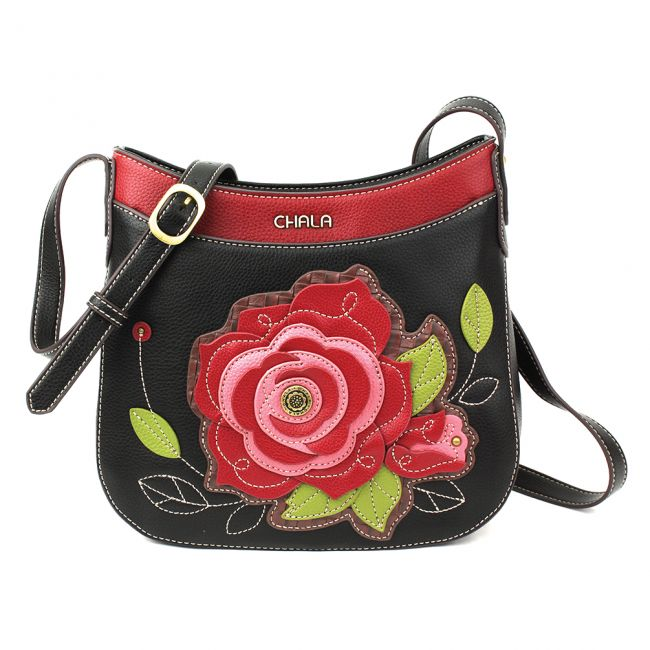 Chala Handbags Red Rose & Black Crescent Crossbody