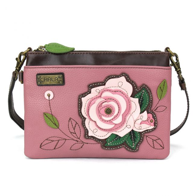 Chala Handbags Pink w/Pink Rose Mini Crossbody