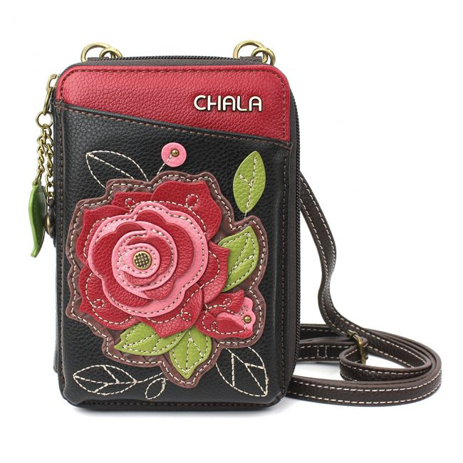 Chala Handbags Wallet Crossbody - Red Rose