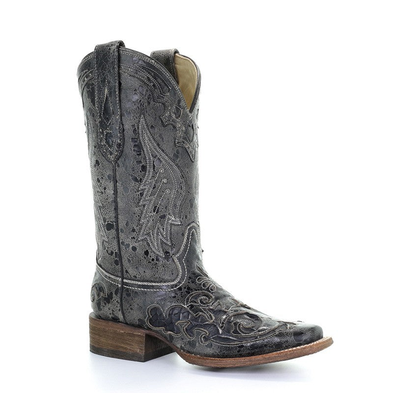 Corral Black Python Overlay Boots