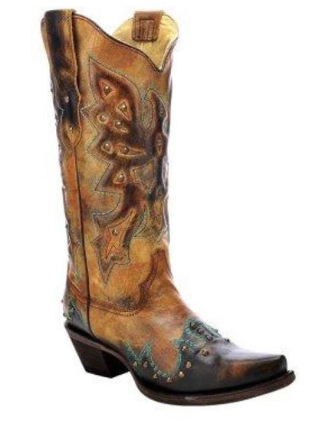 Corral Women's Antique Saddle/Brown Eagle & Studs Western Boots