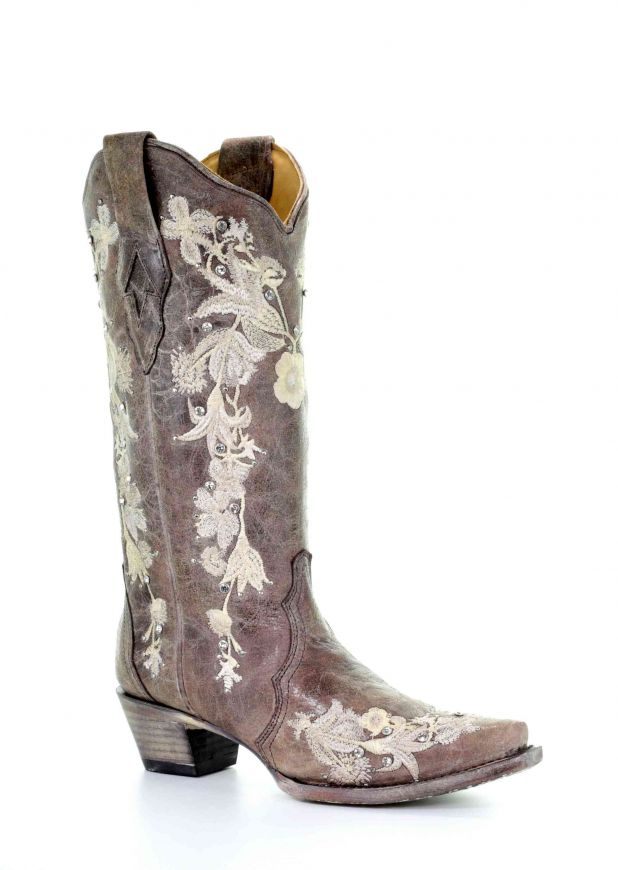 Corral Women's Tobacco Floral Embroidery Western Boot