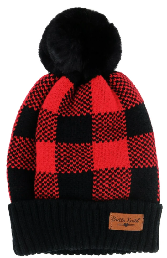 Women's Buffalo Plaid Beanie Cuff Cap - Red/Black