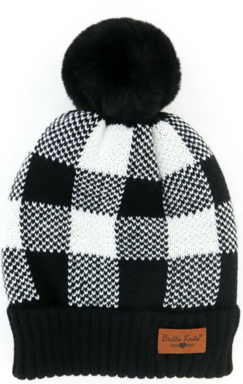 Copy of Women's Buffalo Plaid Beanie Cuff Cap - Wht/Black