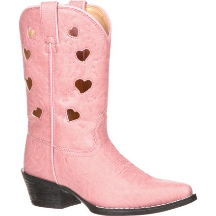 Durango Children's Heart Cutout Pink Western Boot