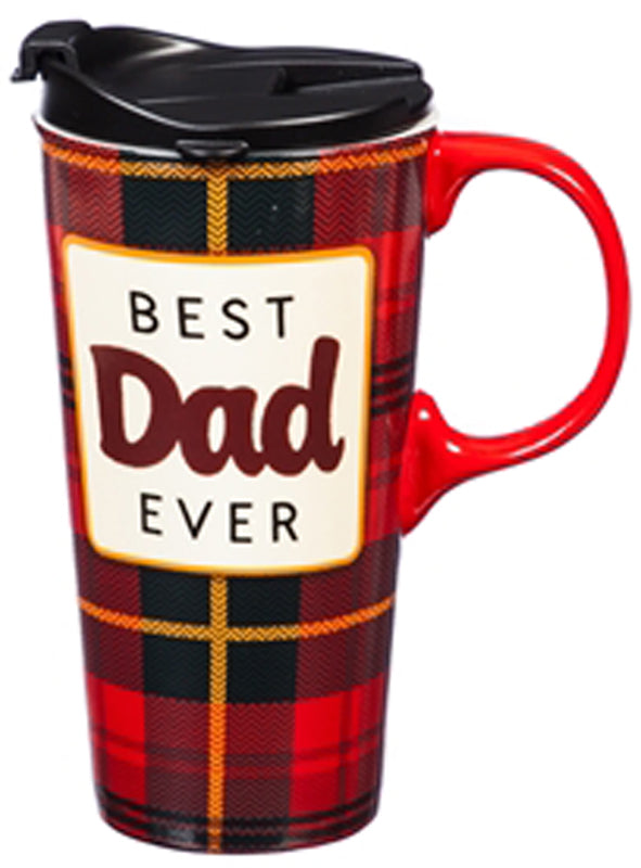 "Evergreen ""Best Dad Ever"" Ceramic Travel Cup"
