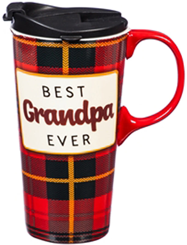 "Evergreen ""Best Grandpa Ever"" Ceramic Travel Cup"