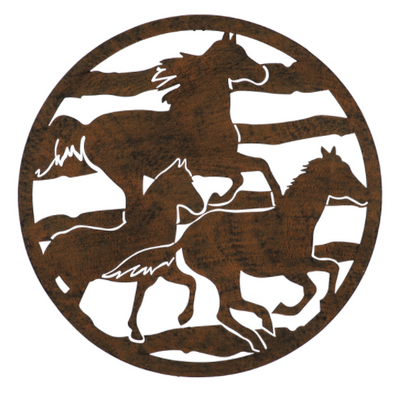 Evergreen Laser Cut Horses Outdoor Metal Wall Decor - IN STORE ONLY