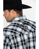 Jack Daniels Men's Textured Plaid Long Sleeve Shirt
