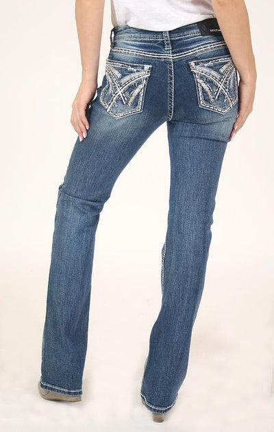 Grace of LA Women's Stitched Embroidered Bootcut Jeans