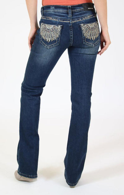 Grace of LA Olive Feather Bloom Embroidered Bootcut Jeans