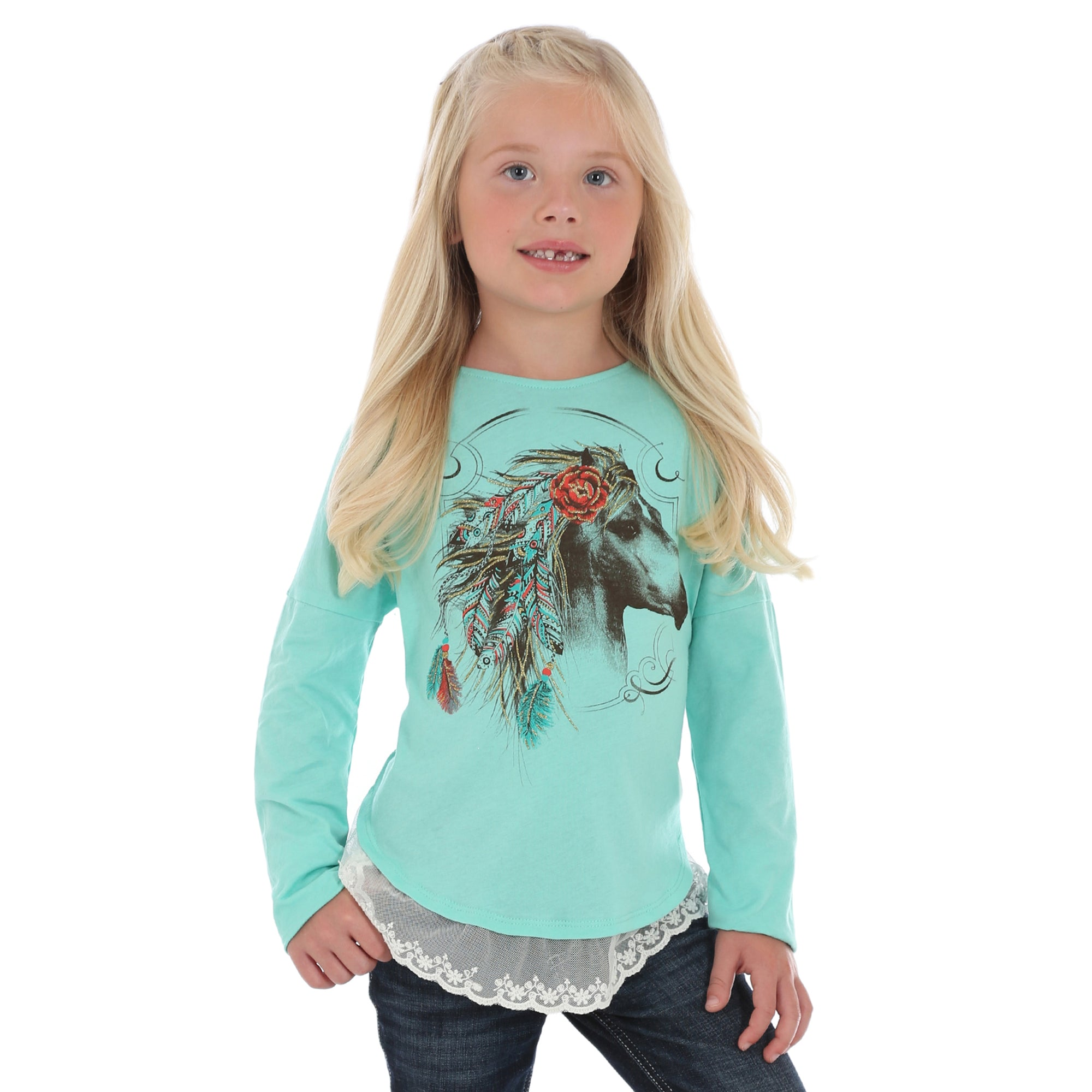 Wrangler Girl's Long Sleeve Horse Screen Print Shirt