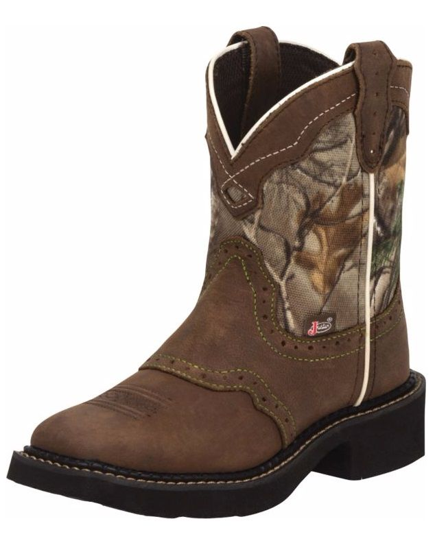 Justin Kids Camo Square Toe Western Boot