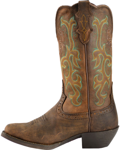 "Justin Women's 12"" Square Toe Stampede Western Boot"