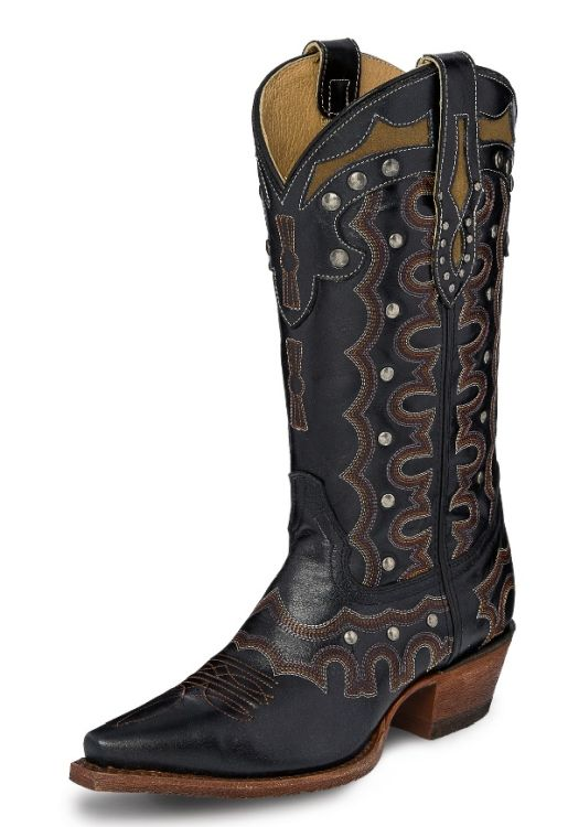 "Justin Women's 12"" Black Onyx Snip Toe Western Boot"