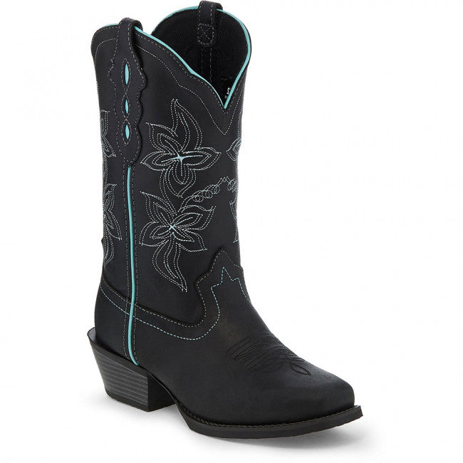 Justin Women's Black Buffalo Square Toe Western Boot