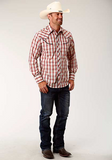 Roper Men's Long Sleeve Plaid Yoke Embroidery Shirt