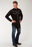 Roper Men's Black Longsleeve Guitar Embroidered Western Shirt