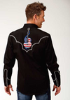 Roper Men's Black L/S Guitar Embroidered Western Shirt