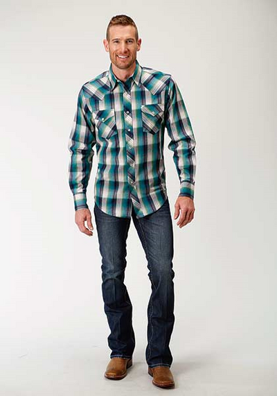 Roper Men's Plaid Long Sleeve Western Shirt
