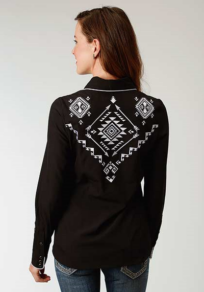 Roper Women's Long Sleeve Aztec Embroidery Top