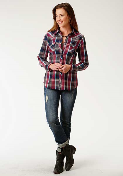 Roper Women's Long Sleeve Plaid Top