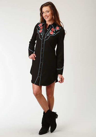 Roper Women's Long Sleeve Embroidered Snap Dress