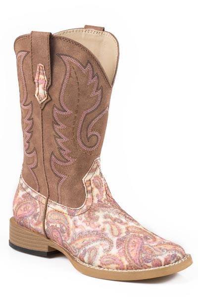 Roper Little Kid's Square Toe Glitter Paisley Western Boots