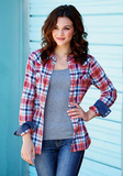 Tin Haul Women's Long Sleeve Plaid Top