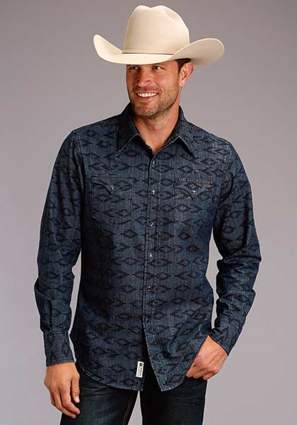 Roper Men's Long Sleeve Aztec Print Shirt