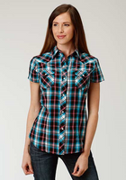 Roper Women's Short Sleeve Plaid Top