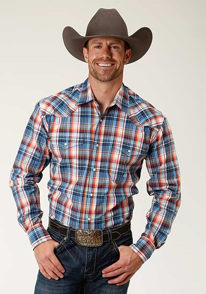 Roper Men's Long Sleeve Plaid Western Shirt