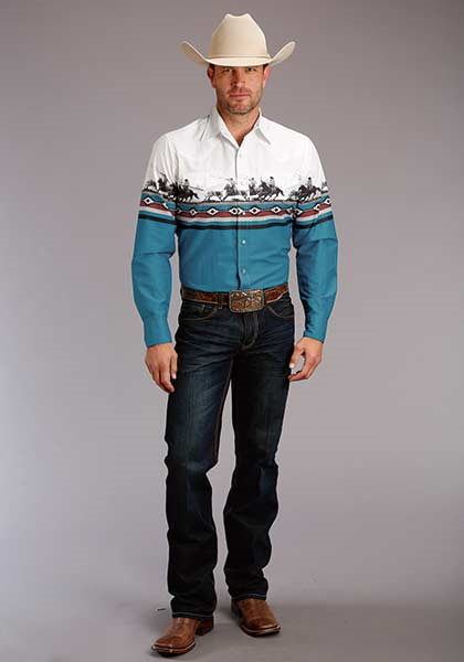 Roper Men's Long Sleeve Border Print Shirt