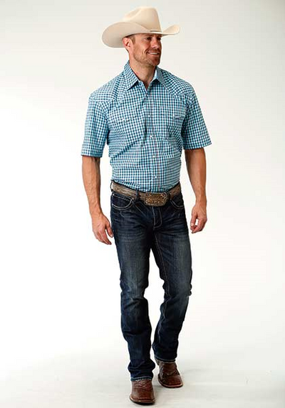 Roper Men's Short Sleeve Plaid Shirt