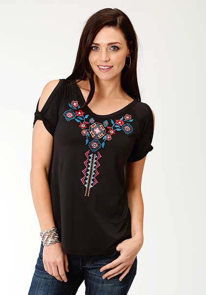 Roper Women's Short Sleeve Aztec Embroidery Top
