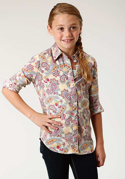 Roper Girl's Long Sleeve Paisley Snap Shirt
