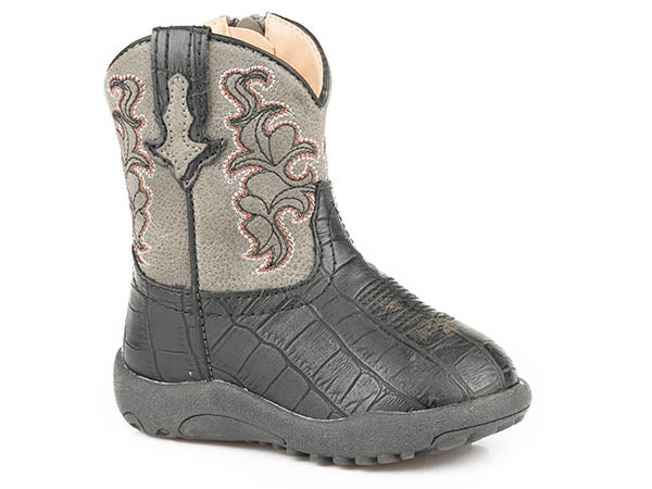 Roper Infant Cowbabies Faux Leather Croc Western Boot
