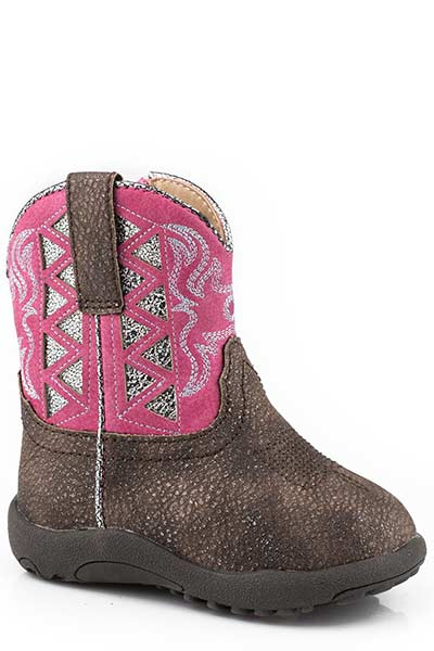 Roper Infant's Cowbabies Pink/Silver Fashion Boot
