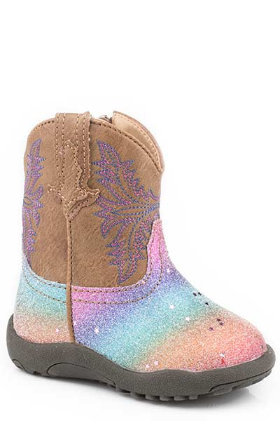 Roper Infant's Cowbabies Rainbow Glitter Fashion Boot