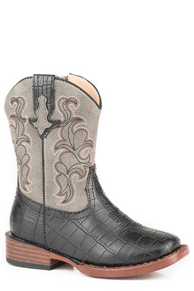 Roper Toddler Black Faux Leather Croc Western Boot