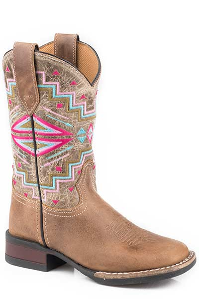 Karman Kid's Embroidered Aztec Western Boot