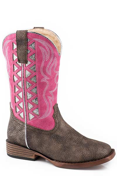 Roper Kid's Pink w/Silver Underlay Fashion Boot