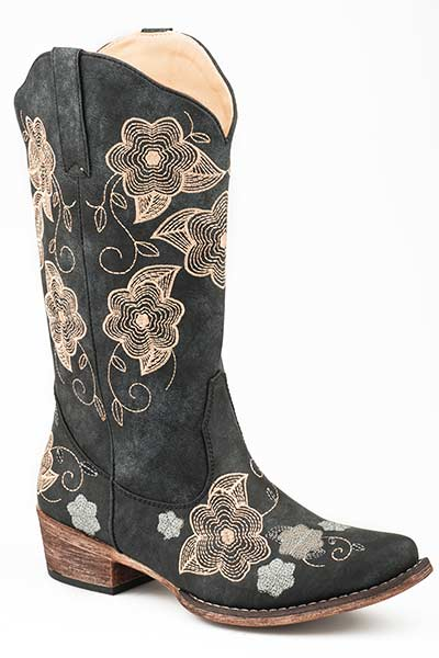 Roper Women's All Over Floral Embroidery Western Boots