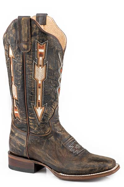 Roper Women's Vintage Brown Leather w/Inlay Arrows Western Boots
