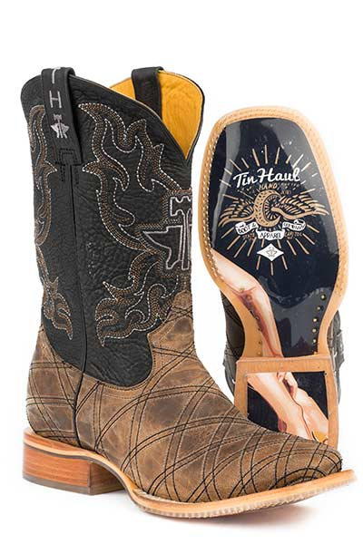 "Tin Haul Men's ""What's Your Angel"" Square Toe Western Boot"