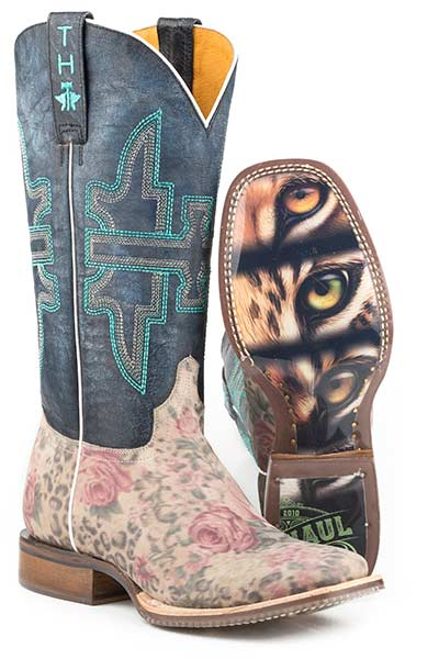 Tin Haul Women Wild Flower Cat Eyes Sole Western Boot